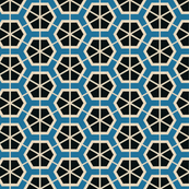Retro Black & Blue Hexagons