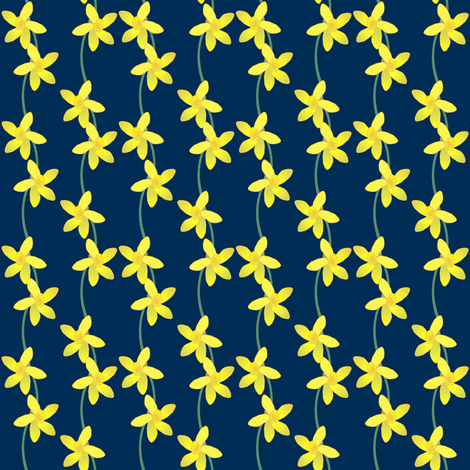 Along the Daffodil Path -- on navy fabric by the_white_cat on Spoonflower - custom fabric