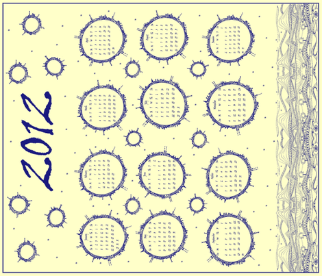 Planet Doodle Calendar 2012 (blue) fabric by wednesdaysgirl on Spoonflower - custom fabric