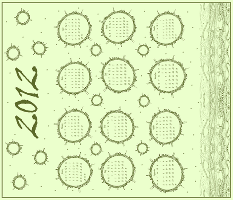 Planet Doodle Calendar 2012 (sage green) fabric by wednesdaysgirl on Spoonflower - custom fabric