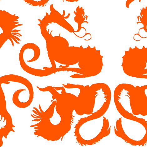 Orange Dragons fabric by eclectic_house on Spoonflower - custom fabric