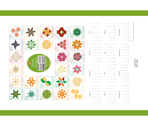 """Fresh Picked"" ABC Calendar - Quilting  fabric by threebysea on Spoonflower - custom fabric"
