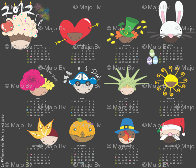 2012 Baby Hats tea towel calendar