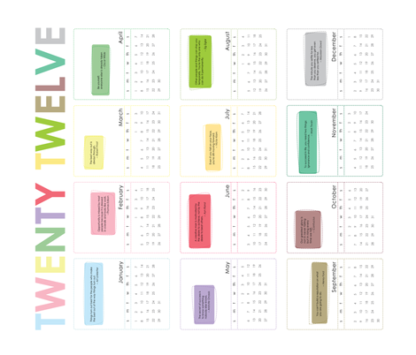 2012 Motivate Me Calendar fabric by thetinyfig on Spoonflower - custom fabric