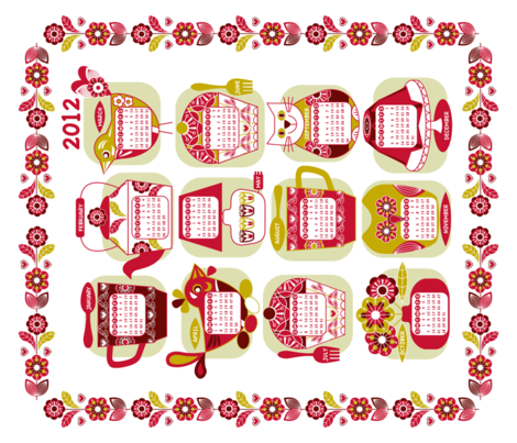 Domestic bliss calendar 2012 fabric by cjldesigns on Spoonflower - custom fabric