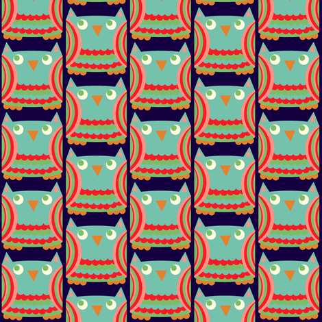 blue owl fabric by heidikenney on Spoonflower - custom fabric