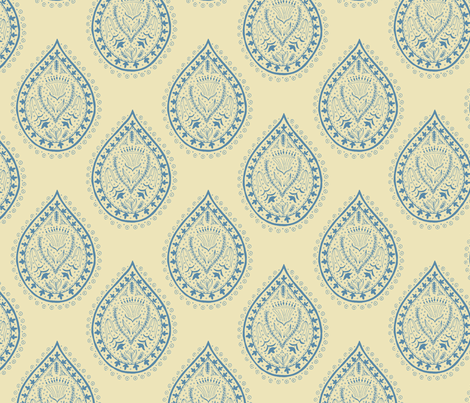 Mumbai in faded blue fabric by domesticate on Spoonflower - custom fabric