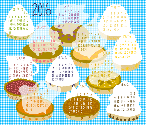 2016 Pie-of-the-month Calendar fabric by mongiesama on Spoonflower - custom fabric