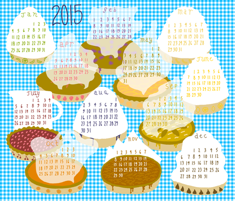 2015 Pie-of-the-month Calendar fabric by mongiesama on Spoonflower - custom fabric