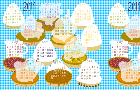 2014 Pie-of-the-month Calendar fabric by mongiesama on Spoonflower - custom fabric