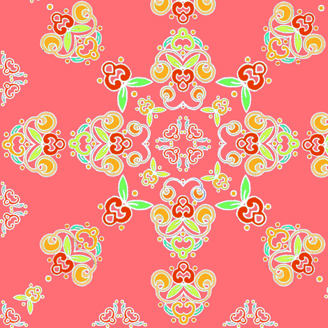 Tangerine Flourish fabric by atomic_bloom on Spoonflower - custom fabric