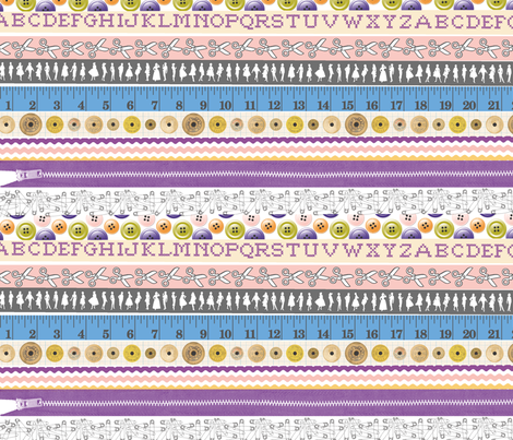 Washi Tape (Sewing) || Japanese ribbon stripes alphabet typography buttons dress numbers fabric by pennycandy on Spoonflower - custom fabric