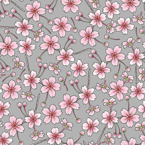 Sakura - Grey fabric by siya on Spoonflower - custom fabric