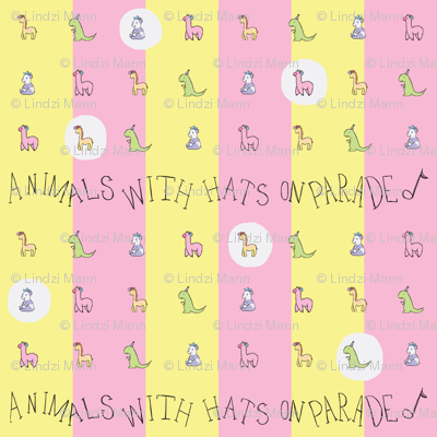 Animals with Hats Repeat YellowXPink