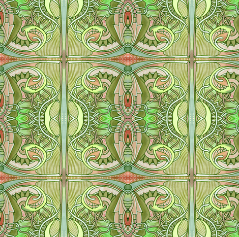 Big Bud Tiles in Grass Green fabric by edsel2084 on Spoonflower - custom fabric