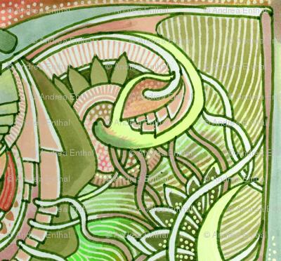 Big Bud Tiles in Grass Green
