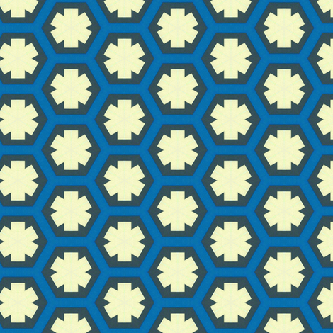 Blue Hexagons and Stars fabric by stoflab on Spoonflower - custom fabric