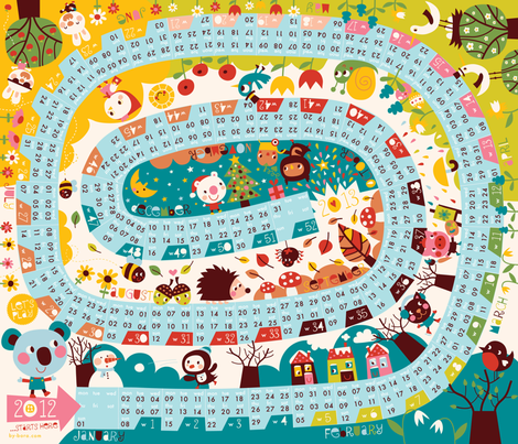 Boardgame calendar 2012! fabric by bora on Spoonflower - custom fabric