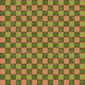 Brilliant Weeds - dark green & pink check