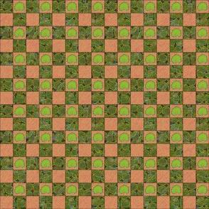 Brilliant Weeds - dark green & pink check
