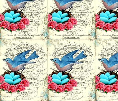 french_bluebird_nest fabric by hopephotoart on Spoonflower - custom fabric