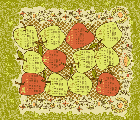 2012 Tea Towel  fabric by 1stpancake on Spoonflower - custom fabric