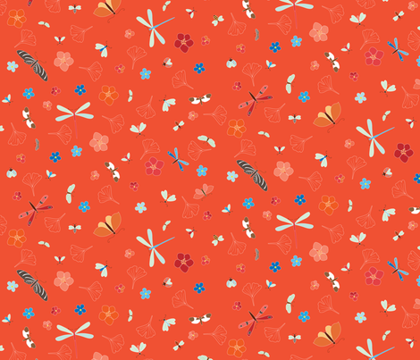 Gingko Bugs - red fabric by kayajoy on Spoonflower - custom fabric