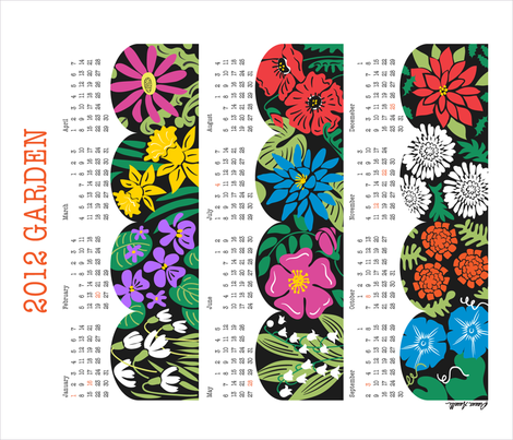 2012 Garden - Flower of the Month Calendar fabric by dianne_annelli on Spoonflower - custom fabric