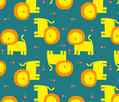 Lions fabric by lydia_meiying on Spoonflower - custom fabric