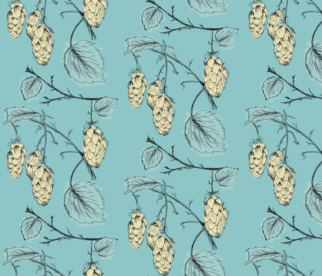 Hops (blue) fabric by phillip_markel on Spoonflower - custom fabric