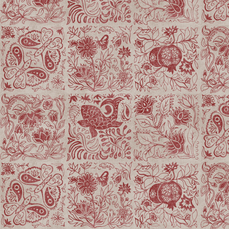 Palace Garden | Cinnamon Woodblock Tile fabric by forest&sea on Spoonflower - custom fabric