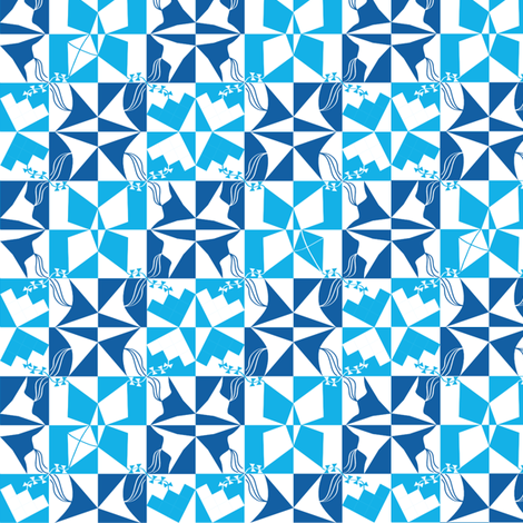 Blue Kites fabric by coloroncloth on Spoonflower - custom fabric