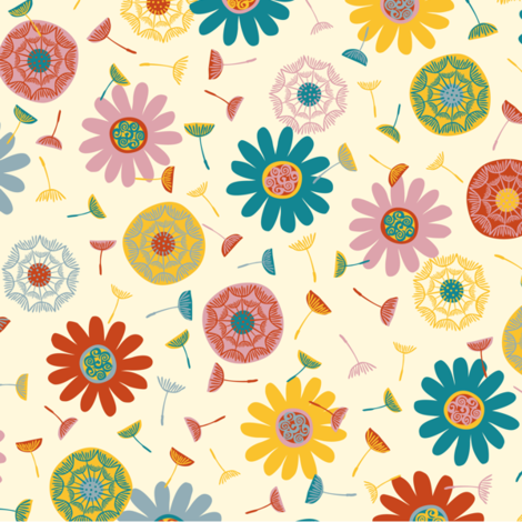 flower shower cream (medium) fabric by gracedesign on Spoonflower - custom fabric