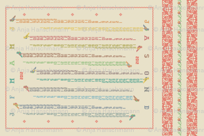 Happy Cross Stitching! - tea towel calendar 2012