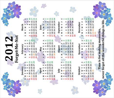 forget-me-not_calendar fabric by emyb_ on Spoonflower - custom fabric