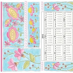 2012 calendar with watercolor flowers