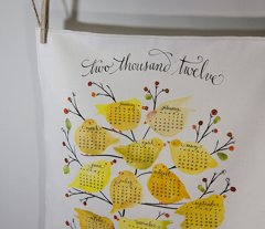 birds & berries tea towel calendar 2012
