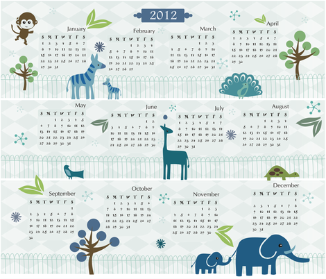 Zoo - 2012 Calendar fabric by jbhorsewriter7 on Spoonflower - custom fabric