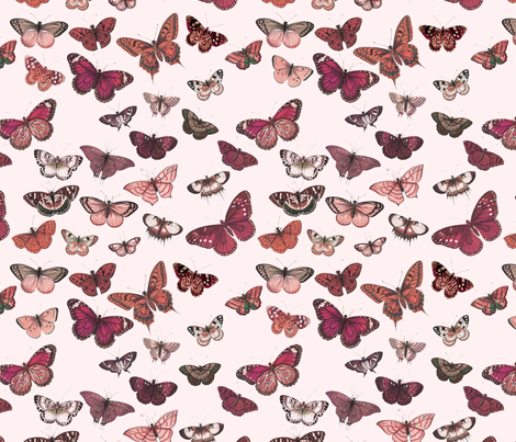 Flutter, Butterflies Magenta fabric by thistleandfox on Spoonflower - custom fabric