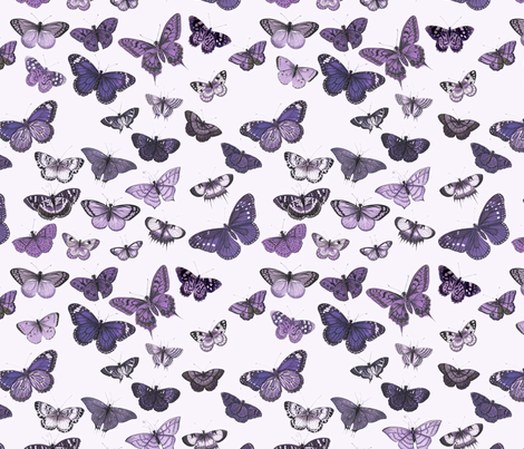 Flutter, Butterflies Purple fabric by thistleandfox on Spoonflower - custom fabric
