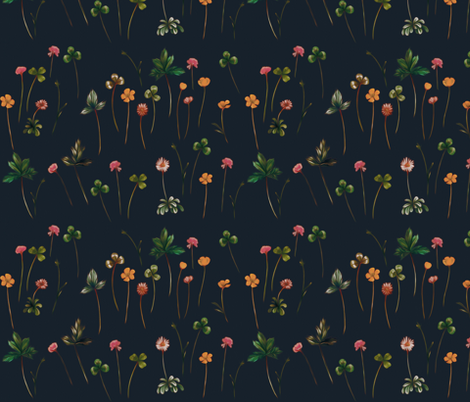 Meadowsweet in Jungle Green, Gold Magenta fabric by thistleandfox on Spoonflower - custom fabric