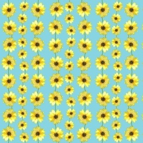 Sunflower Ribbons -- on turquoise