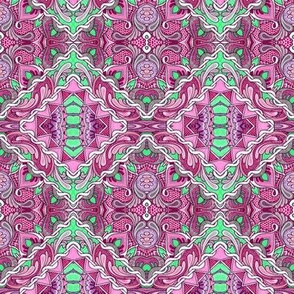 Zig Zag Tile cheater quilt in pink and lime