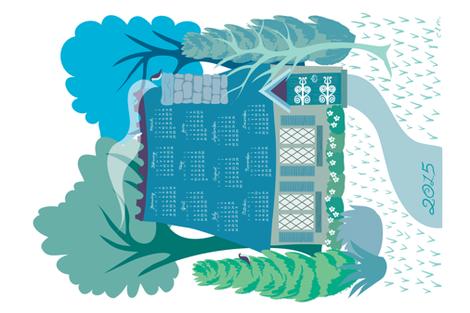 Storybook cottage 2015 calendar - tea towel fabric by needlebook on Spoonflower - custom fabric