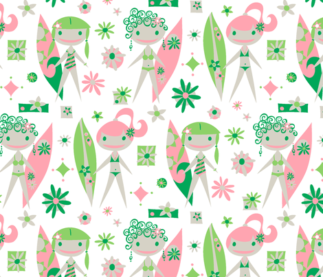 Surfer Girls (white) (large) fabric by happyjonestextiles on Spoonflower - custom fabric