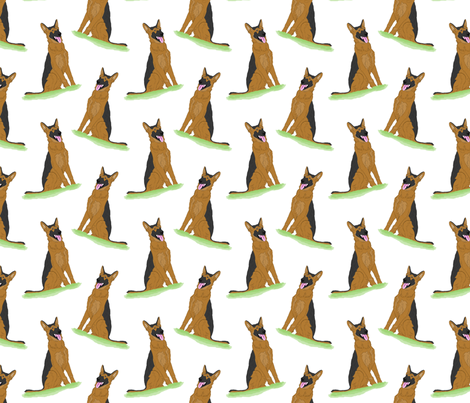 Sitting German Shepherd Dogs fabric by rusticcorgi on Spoonflower - custom fabric