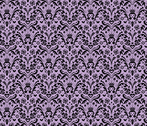 Happy Princess Damask in Purple fabric by happyjonestextiles on Spoonflower - custom fabric