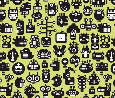 Roboface on green. fabric by panova on Spoonflower - custom fabric