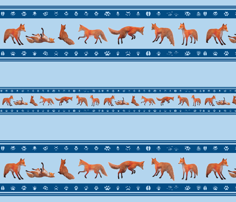 Red Fox Border, Blue fabric by animotaxis on Spoonflower - custom fabric