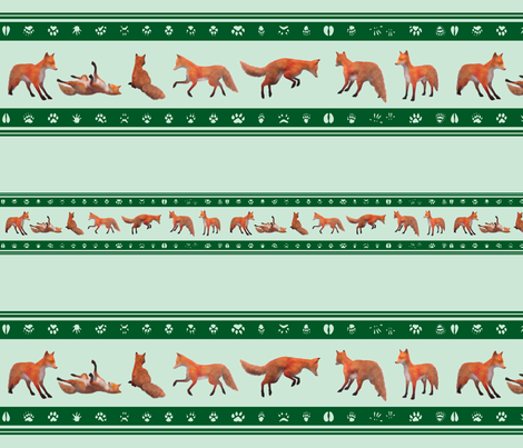 Red Fox Border, Green fabric by animotaxis on Spoonflower - custom fabric